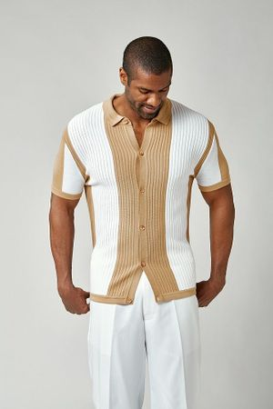 Stacy Adams Knitted Shirts for Men Beige White 1207 Size L, 3XL