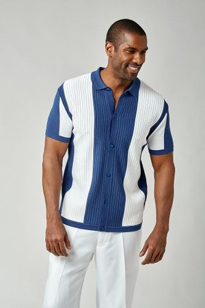 Stacy Adams Knitted Shirts for Men Blue White 1207