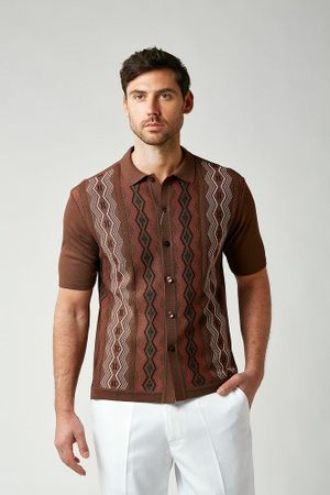 Silversilk Knitted Shirts for Men 1960s Brown Patterned 1212