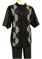 Silversilk Leisure Suit Mens Black Knit Front Casual Outfit 4300