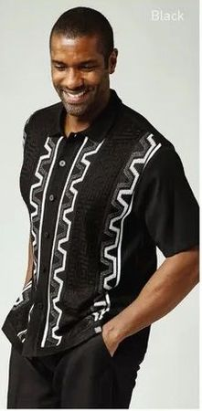 Silversilk Leisure Suit Mens Black Knit Front Casual Outfit 1218