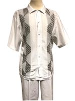 Silversilk Leisure Suit Mens White Knit Front Casual Outfit 4300