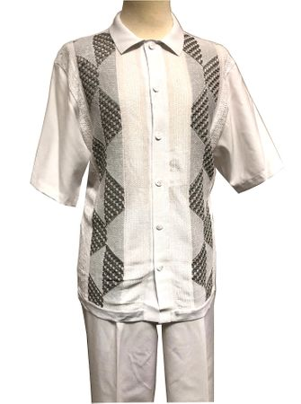 Silversilk Leisure Suit Mens White Knit Front Casual Outfit 4300 Size L, XL