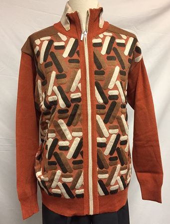 Silversilk Men's Rust Fancy Pattern Zipper Sweater 3230 - click to enlarge