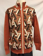 Silversilk Men's Rust Fancy Pattern Zipper Sweater 3230