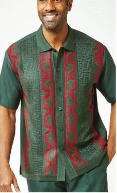 Silversilk Leisure Suit Mens Green Knit Front Casual Outfit 1218