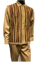 Silversilk Mens Beige Knitted Front Walking Suit with Hat Set 5396