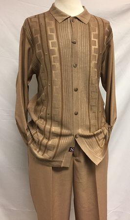 Silversilk Mens Beige Long Sleeve Knit Front 3 pc.Casual Outfit 3386