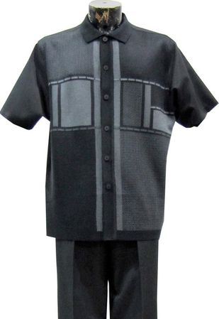 Silversilk Mens Black Block Pattern Knit Front Casual Walking Suit 9338 - click to enlarge