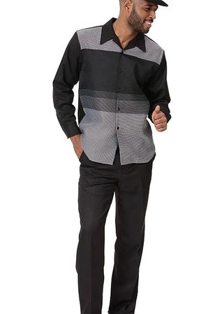 Montique Mens Black Pattern Long Sleeve Casual Walking Suit 2050