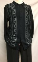 Silversilk Mens Black Fancy Knit Front Long Sleeve 3 pc.Casual Set 3386
