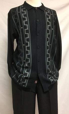 Silversilk Mens Black Fancy Knit Front Long Sleeve 3 pc.Casual Set 3386 - click to enlarge