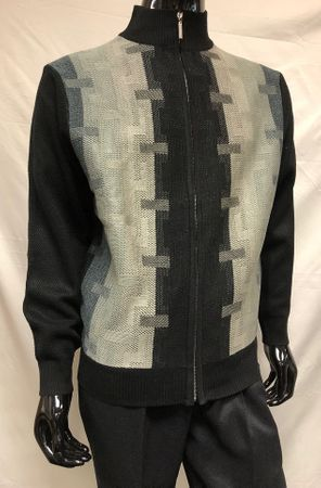Silversilk Mens Black Gray Pattern Sweater Pants Outfit 5397