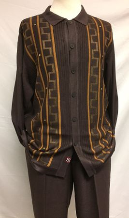 Silversilk Mens Brown Knit Front Long Sleeve 3 pc. Shirt Pants Scarf Set 3386