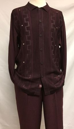 Silversilk Mens Burgundy Knit Front Long Sleeve 3 pc.Casual Outfit 3386