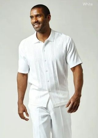 Silversilk Mens White Walking Suit Knit Front Casual Outfit 1219