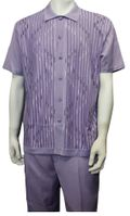 Silversilk Men's Knit Front Lavender Walking Suit Style 6354