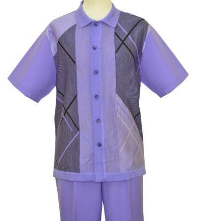 Silversilk Mens Lavender Cross Pattern Knit Front Casual Walking Suit 9334