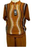 Silversilk Mens Rust Multi Knit Top Casual Walking Suit 9316