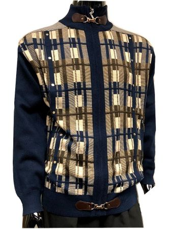 Silversilk Mens Navy Square Pattern Unique Design Sweater 3246 - click to enlarge