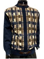 Silversilk Mens Navy Square Pattern Unique Design Sweater 3246