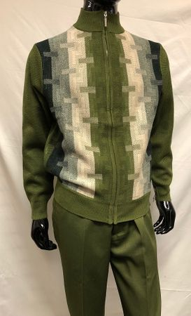 Silversilk Mens Olive Green Pattern Zipper Sweater Pants Outfit 5397