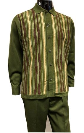 Silversilk Mens Olive Knitted Front Walking Suit with Hat Set 5396 - click to enlarge