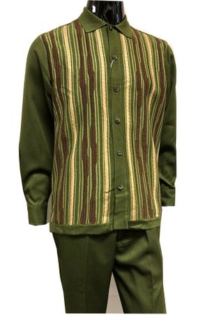 Silversilk Mens Olive Knitted Front Walking Suit with Hat Set 5396 Size M,L