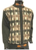 Silversilk Mens Olive Leather Tag Full Zipper Front Sweater 3246