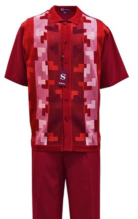 Silversilk Mens Red Knit Front Walking Suit 2384
