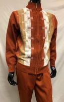 Silversilk Mens Rust Beige Pattern Sweater Pants Outfit 5397
