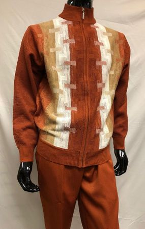 Silversilk Mens Rust Beige Pattern Sweater Pants Outfit 5397 - click to enlarge