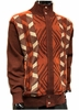 Silversilk Mens Rust Diamond Pattern Zipper Front Sweater 3228