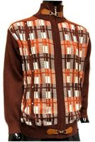 Silversilk Mens Rust Square Design Full Zipper Front Sweater 3246