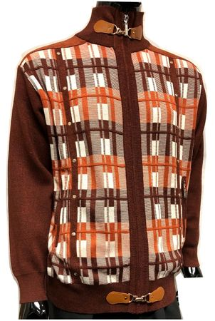 Silversilk Mens Rust Square Design Full Zipper Front Sweater 3246 - click to enlarge