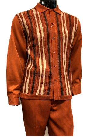Silversilk Mens Rust Sweater Front Walking Suit with Hat 5396 Size M, L, XL