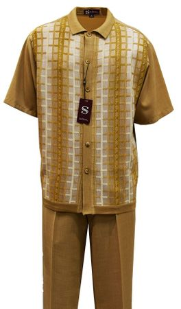 Silversilk Mens Sand Beige Knit Front Style Walking Suit 2380 - click to enlarge
