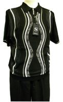 Silversilk Mens Black Multi Knit Top Casual Walking Suit 9316
