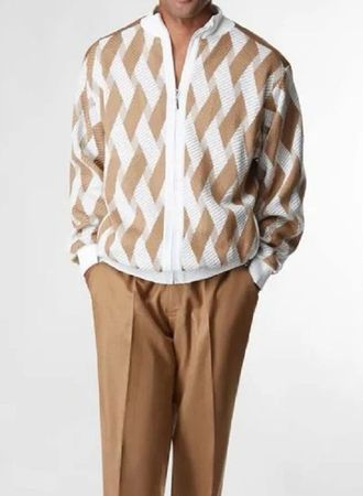 Silversilk Mens Cream Beige Pattern Sweater and Pants Outfit 7362  XL