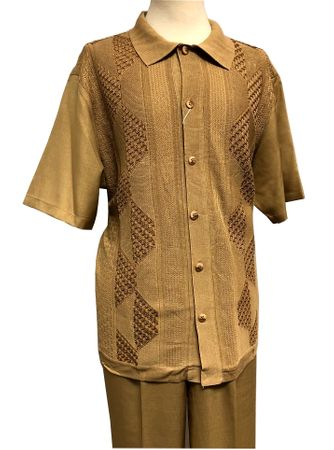 Silversilk Walking Suit Mens Camel Beige Knit Front Casual Outfit 4300 Size 3XL