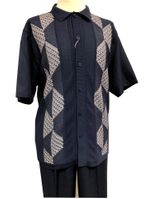 Silversilk Walking Suit Mens Navy Blue Knit Front Casual Outfit 4300