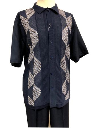 Silversilk Walking Suit Mens Navy Blue Knit Front Casual Outfit 4300 Size XL/38