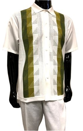 Silversilk White Olive Green Walking Suit Knit Front 6322