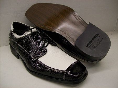 Sio Mens Black White Crocodile Print Shoes TT699 IS