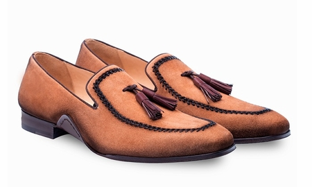 Mezlans Mens Cognac Suede Tassle Loafer Plazza 8452 - click to enlarge