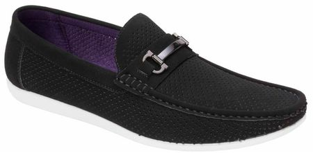 Montique Men's Black Metal Bit Perforated Casual Loafers S45 - click to enlarge