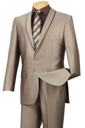 Slim Fit Suit by Vinci Young Men's Beige Prom Style SSH-1