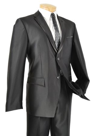 Vinci Shiny Men's Black Edged Trim Two Button Slim Fit Suit S2RR-4  - click to enlarge