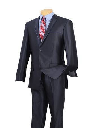 Slim Fit Suits by Vinci Men's Blue Shiny Navy S2RR-4