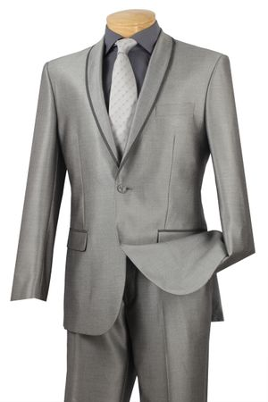 Skinny Fit Suit by Vinci Men's Grey Sharkskin Suits SSH-1